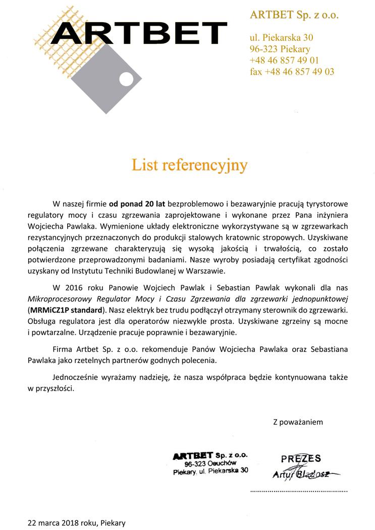Regulator prądu zgrzewania, referencje
