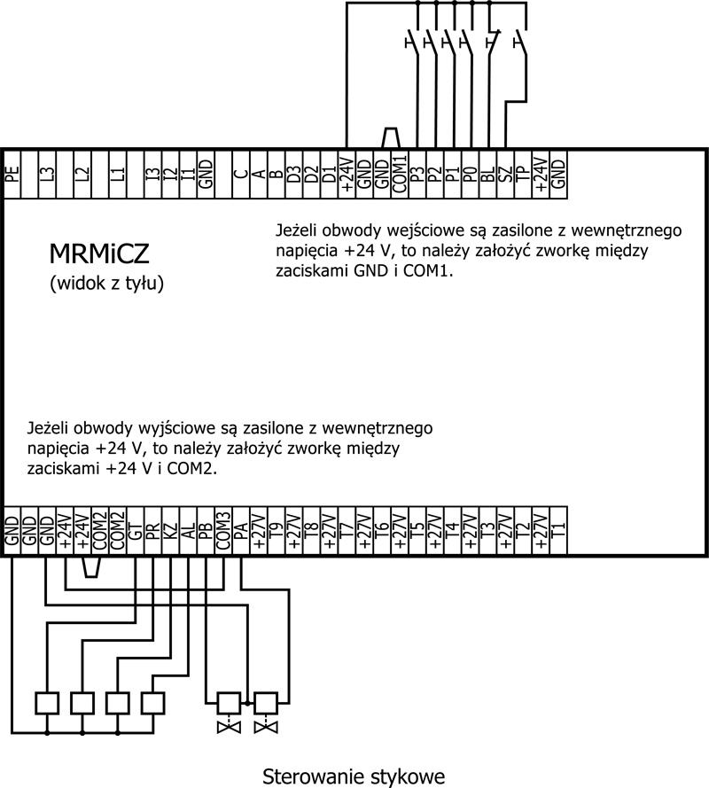 Sterowanie stykowe Mikroprocesorowego Regulatora Mocy i Czasu Zgrzewania