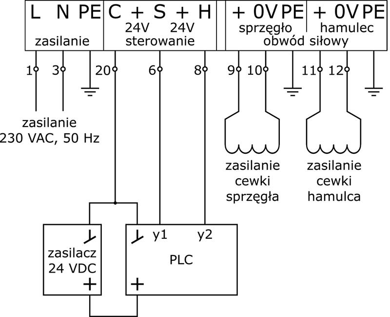 Sprzęgło-hamulec podłączenie sygnałów napięciowych